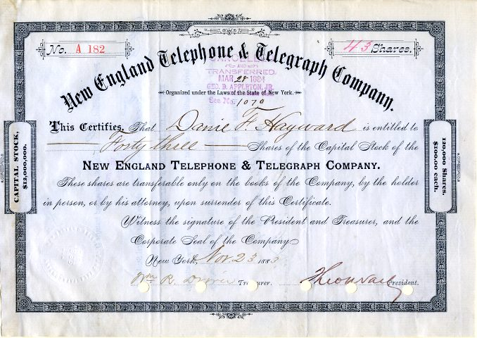 new-england-telephone-telegraph-company-signed-by-theodore-vail-first-president-of-at-t-new-york-1883-17